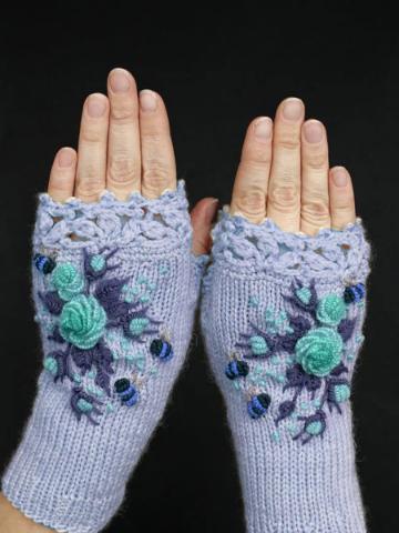 White Sweet Cotton-Blend Gloves & Mittens