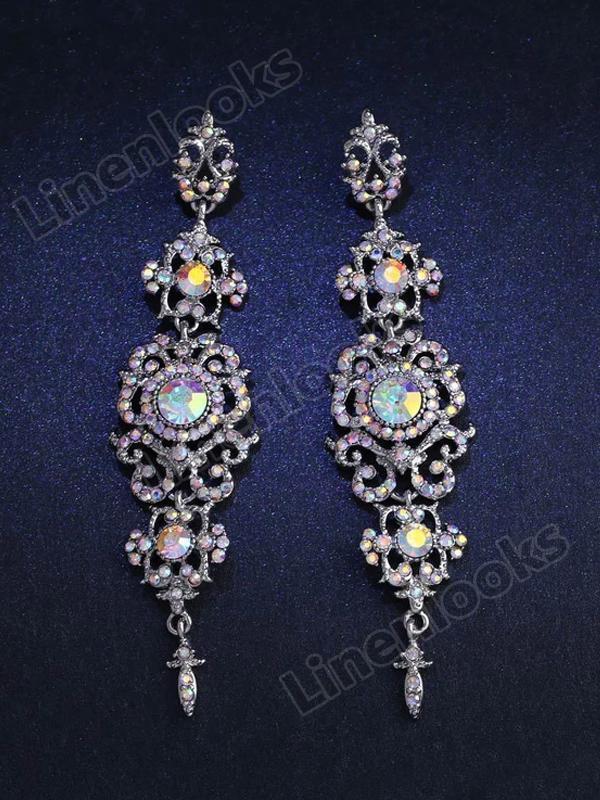 Long Crystal Drop Earrings for Women Big Dangle Earrings