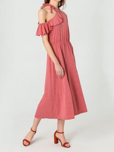 Red Short Sleeve Cotton-Blend Dresses