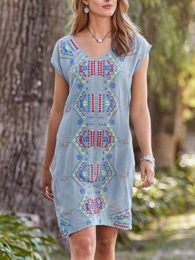 Cotton-Blend Short Sleeve Crew Neck Plain Dresses