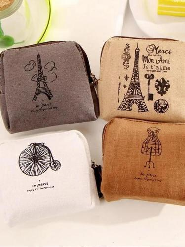 Paris Vintage Canvas Coin Purse