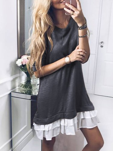 Casual Paneled Crew Neck Solid Fall Dress