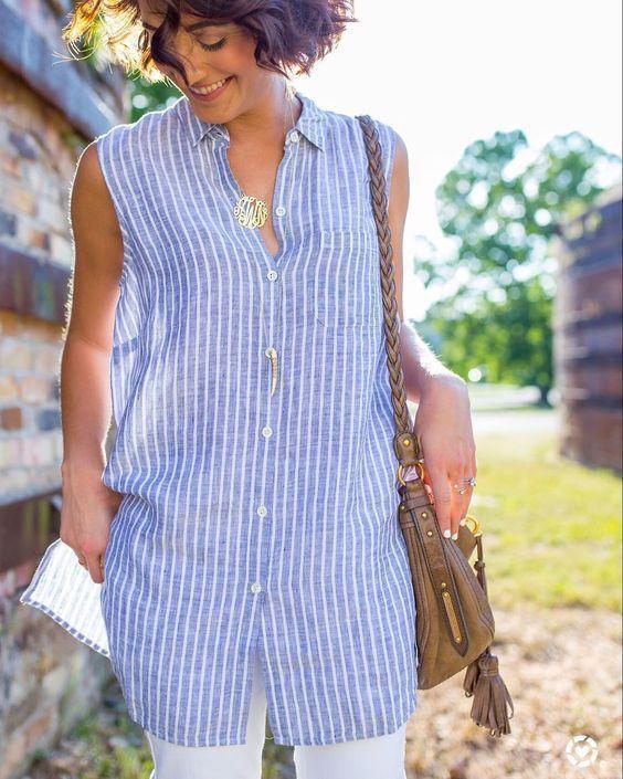 Light Blue Striped Boho Shirts & Tops