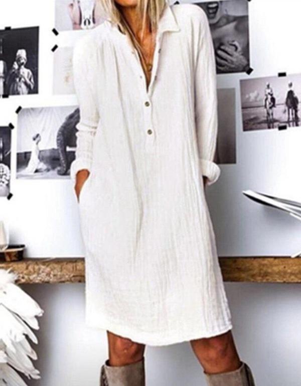 Fashion Button Loose Dress Elegant Women Dresses Casual Work Dress Plus Size Pocket Slim White Dresses