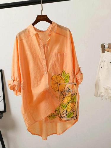 Orange Shirt Collar Casual Shirts & Tops