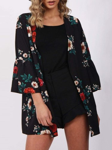 Floral Casual Paneled Bell Sleeve Chiffon Printed/Dyed Cardigan