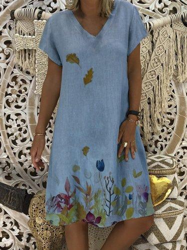 Cotton-Blend V Neck Floral-Print Short Sleeve Casual Dresses