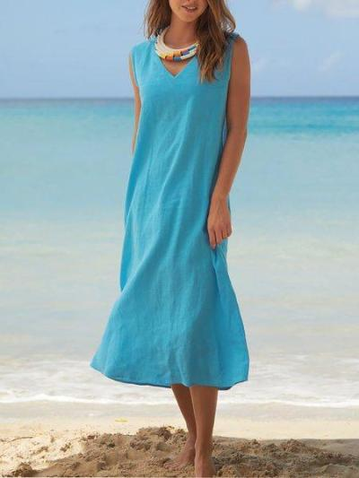 Solid V Neck Sleeveless Casual Dresses