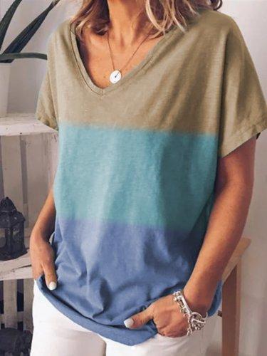 Plus Size Women Short Sleeve V Neck Vintage Gradient Floral Casual Tops