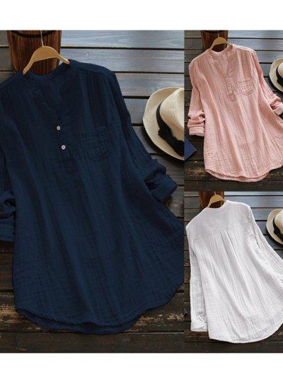 Pockets Long Sleeve Stand Collar Shirts & Tops