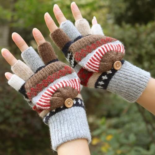 Wool Plus Velvet Thickening Warm Exposed Finger Gloves Winter Ladies Mittens