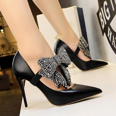 Women Elegant Thin High Heel Shallow Mouth Pointed Bow Tie Pumps