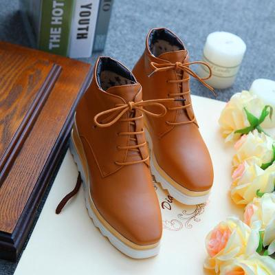 Women Wedge Heel Booties Casual Lace Up Plus Size Shoes
