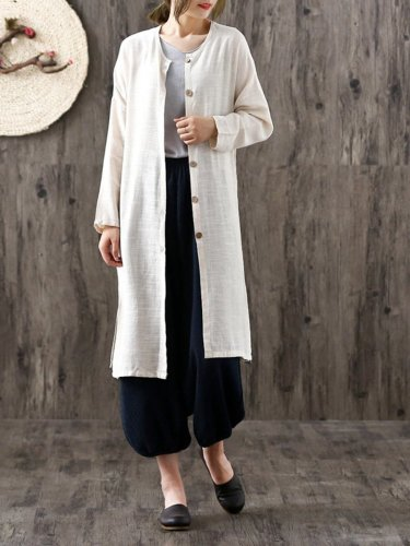 Casual Long Sleeve Solid Linen Cotton Cardigan
