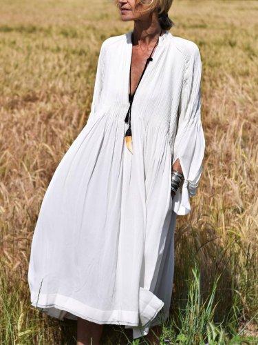 Long Sleeve Elegant V Neck Maxi Dresses