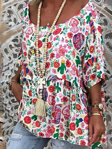 Floral Half Sleeve Causal Tops