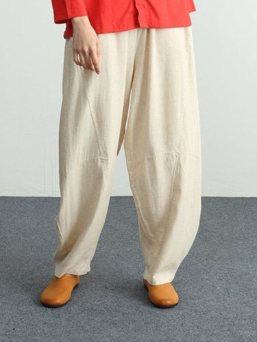 Solid Cotton Casual Pants