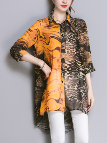 Leopard 3/4 Sleeve Abstract Causal Dresses