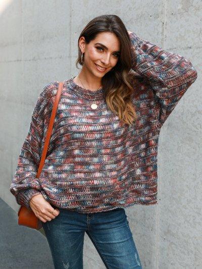Sweet Long Sleeve Ombre/tie-Dye Shift Sweater