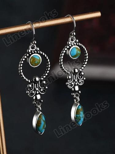 Retro Thai Silver Earrings with Turquoise Earrings for Women