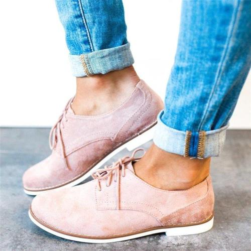 Womens Oxford Shoes Comfort Low Heel Lace-up Daily Loafers