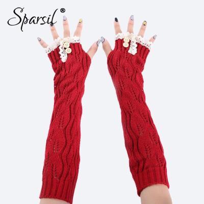 Women Knitted Long Gloves Lace Edge Button Twist Half Finger Mittens Hollow Fingerless Winter Arm Elbow Wrist Protector