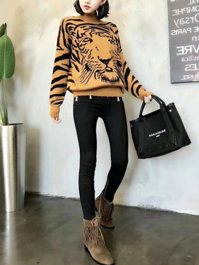 Tiger Vintage Turtleneck Cotton Sweaters