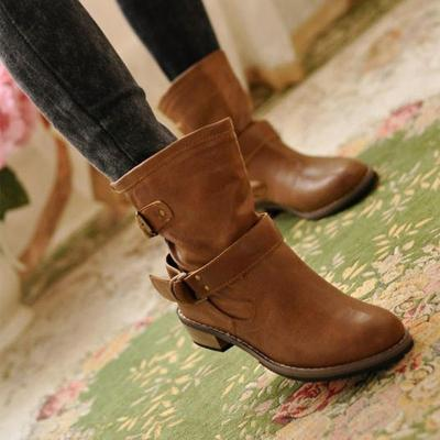 Buckle Strap Boots Women Mid-Calf Shoes