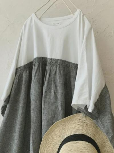 White Linen Crew Neck Paneled Vintage Dresses