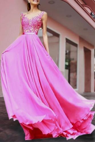 Fashion Inwrought Splicing Grenadine Evening Dress
