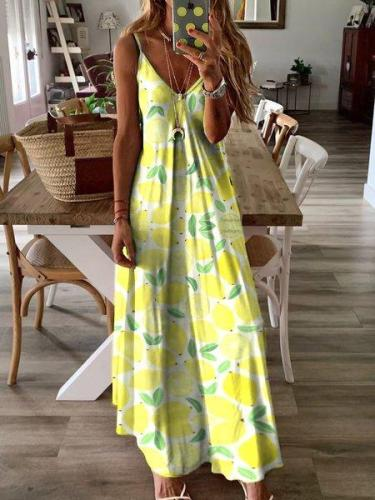 Lemon-Printed Maxi Holiday Dress
