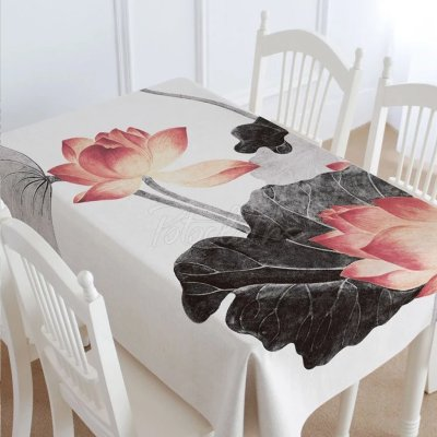 Lotus Ink Painting Tablecloth