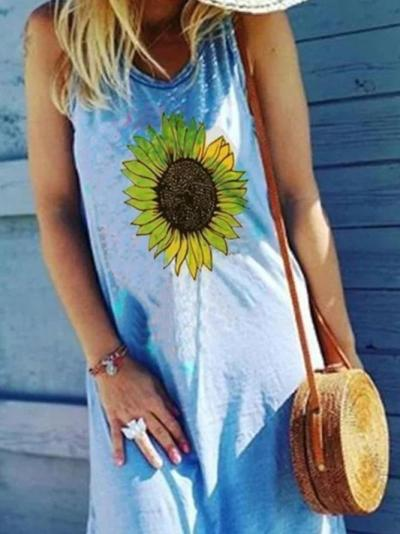Blue Casual Floral Printed Sleeveless Holiday Seaside A-Line Dresses