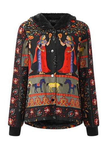 Fleece-lined Tribal Printed Long Sleeve Hoodie Coat