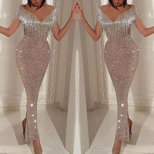 Fashion Deep V Tassel Sleeveless Bodycon Dresses