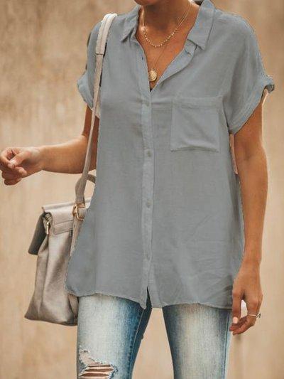 V Neck Short Sleeve Casual Tops