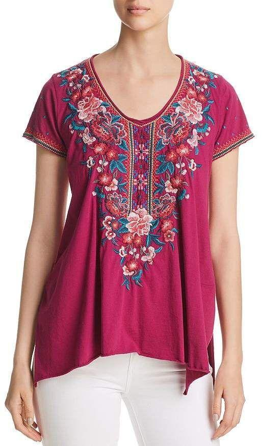Casual V Neck Floral Short Sleeve Shirts & Tops