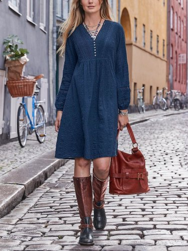 Cotton-Blend Plain Casual Dresses