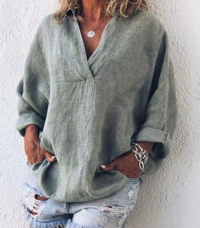 Plus Size V Neck Long Sleeve Casual Shirts & Tops