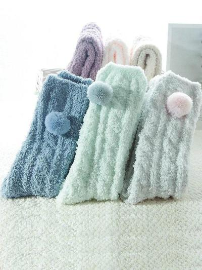 Women Solid Casual Fuzzy Socks