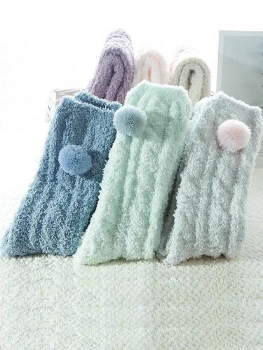 Women Solid Casual Fuzzy Socks
