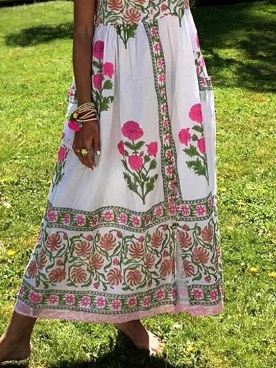 Sleeveless Printed Floral Dresses
