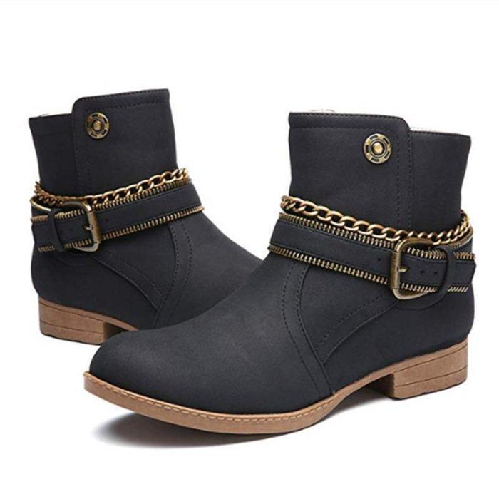Women's Shoes Adjustable Buckle Low Heel Casual Boots