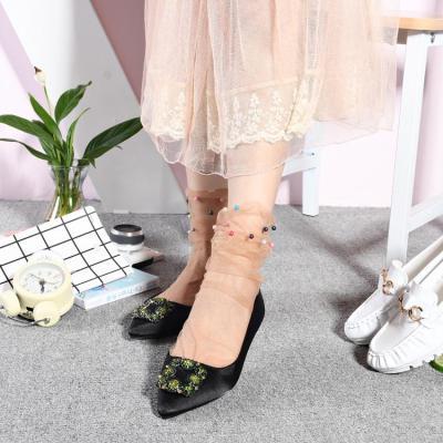 Fashion Fairy Tulle Stockings Handmade Beaded Mesh Loose Stockings