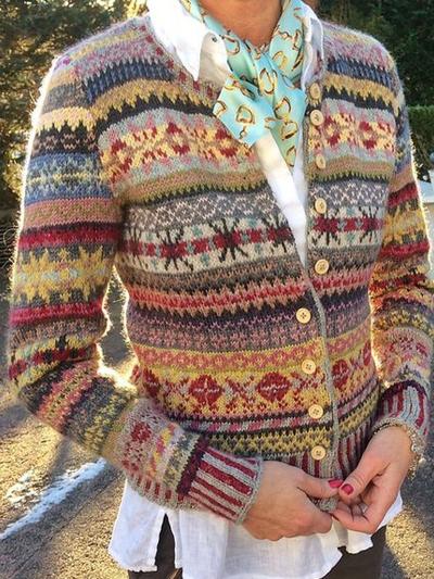 Vintage Long Sleeve Tribal Printed Cardigan