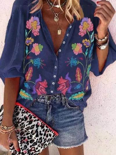 Women V-Neck Floral-Print Vintage Blouses