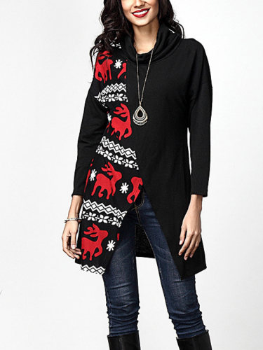 Fawn Printed Cotton-Blend Color-Block Long Sleeve Blouse & Shirts