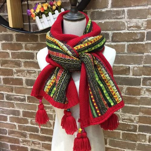 Long Knitted Scarf Wool Cotton Printed Ladies Fringed Shawl Winter Warm Scarf