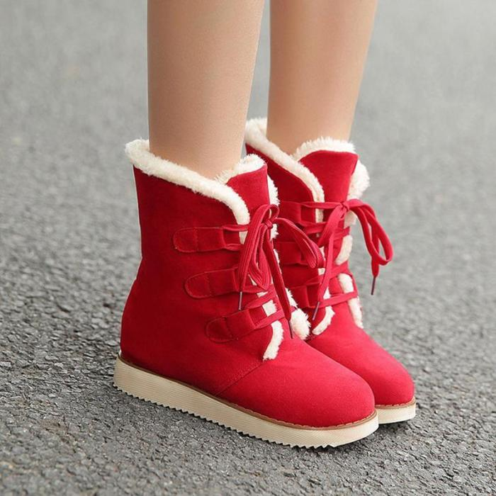 Women Ankle Suede Lace-Up Ski Boots