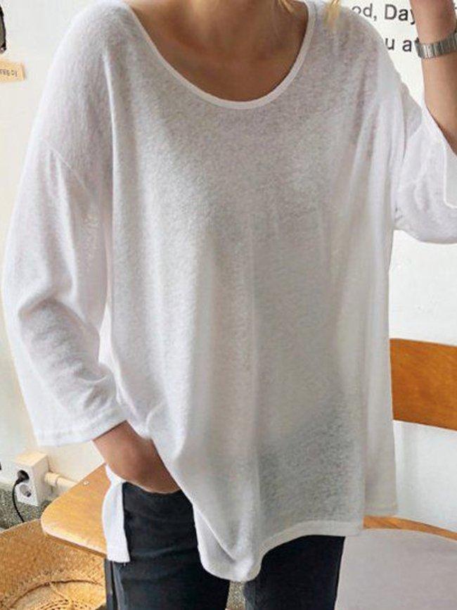 White Crew Neck Long Sleeve Cotton Plain Shirts & Tops